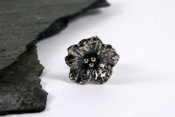Black Patina Sterling Silver Flower Lapel Pin, Tie Tack, Scatter Pin