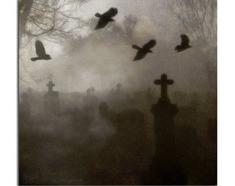 Dark, Foggy, Ravens, Blackbirds, Tombstones, Photograph, Wall Art, Halloween, Graveyard, Gothic, Crows - Gothic Gathering