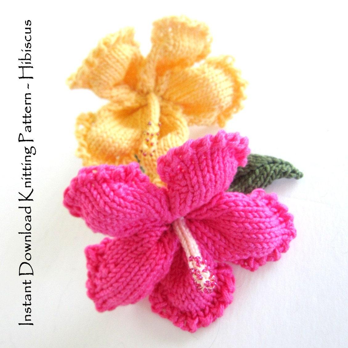Free Knitting Flower Patterns : Instant Download PDF Knit Flower Pattern Hibiscus