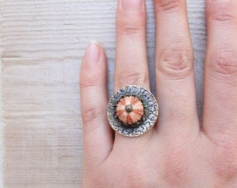 Sea Urchin Pink Crown Ring (only US size 7.5)