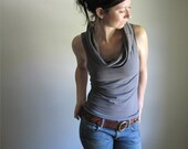 Organic Cotton Cowl Tank, Stone Grey, Sleeveless Shirt, Drape Blouse, Summer Tee, Custom Made