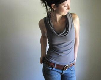 Organic Cotton Cowl Tank, Stone Grey, Sleeveless Shirt, Drape Blouse, Summer Tee, Custom Made