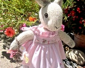 Knit Animal, Stuffed Bunny Doll in Hand Smocked Dress/ Hand Knit, Hand Embroidered / Annika