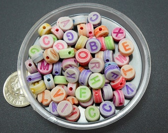 80 Mixed Color Acrylic Letter Beads 7mm alphabet initial (H1588)