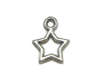 12 Small Star Charms Silver Tone Metal (S235)