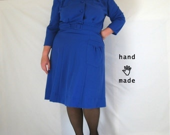 SALE - Lark Dress - plus size dress, size 22, fresh design, 3/4 sleeve, handmade in royal blue crinkle rayon vintage fabric -- 54B-43W-51H