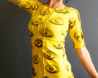 Out of Bounds - iheartfink Handmade Hand Printed Womens Bright Yellow Eye Art Print Jersey Top