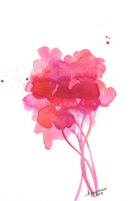 "Watercolor floral bouquet art print in pink and coral: ""Up with the Sunrise"""