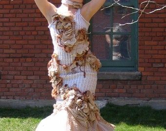 Custom WEDDING DRESS fairy OOAK crochet and tulle coutire gown by Krisztina Lazar