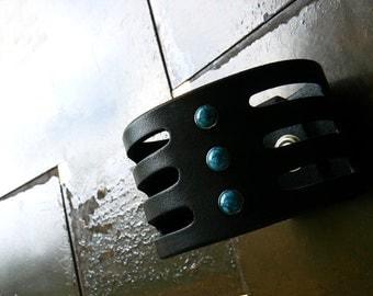 Trinity Turquoise Leather Cuff | Native American Bracelet | Boho Gypsy Hippie Wrist Band | Men's Women's Tribal Jewelry | South Western