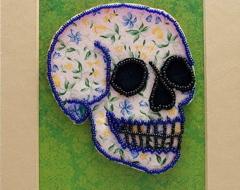 Bead Embroidered Skull // Blue and Yellow // Flowers // Fabric // Seed Beads // Mixed Media Art