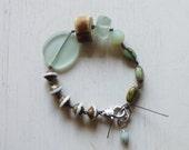 Antler Bracelet, Sea Glass Gemstone Czech Glass Bracelet, Natural Bracelet, Hand Knotted, Aqua and Browns, Frosted Beads