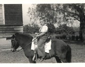 vintage photo Little Boy Riding Pony in the yard