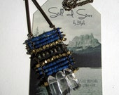 Totem Necklace with Lapis, Quartz Crystal point, and Pyrite