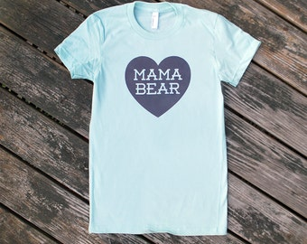 Mama Bear with Heart Cotton Sea Foam Mint Green Blue TShirt with Grey print - Mothers Day, Family Photos, Gift for Mom, for Her, Expecting