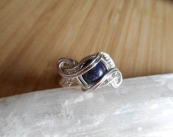 Lapis Lazuli Bead Ring Wrapped in Sterling Silver Wire Wrap Weave Ring Size 7 Wire Wrapped Jewelry Handmade Fantasy Scifi Orbit Ring