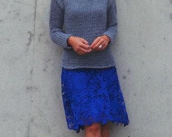womens Gray sweater staple gray sweater alpaca mix gray sweater
