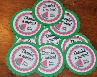 Watermelon Tags. Favor Tags. Melon. Thanks a melon. Birthday Party. Tags. Set of 12. Pink. Green