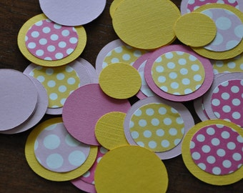 Confetti. Dots. Minis. Pink Lemonade. Pink. Yellow. Polka Dot. Set of 125 pieces.