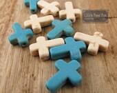 Turquoise Cross Beads, Sideways Cross Gemstones, Turquoise and Cream Magnesite Crosses, 10 Stones, Cross Jewelry (L-TQ1)