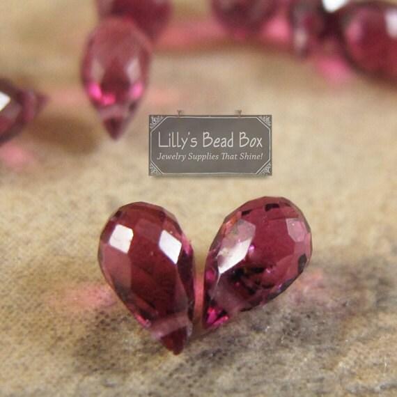 Natural Rhodolite Garnet Briolettes, Tiny Matched Pair, Teardrop Gemstones, 5mm x 3mm- 7mm x 4mm [B-Rho3a]
