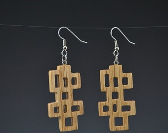 Wooden Wright 2 Geometric Brown Earrings - Upcycled Pallet Wood Recycled Jewelry by Mark Noll - Gifts for Her