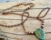 Aqua Czech Picasso Glass Leaf and Antiqued Copper necklace