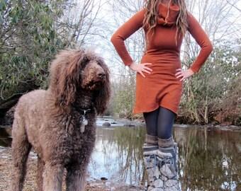 Organic Chunky Cowl Short Fleece Dress (hemp/organic cotton fleece - organic dress