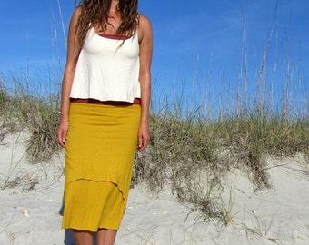 ORGANIC Rising Tides Simplicity Below Knee Skirt - ( light hemp and organic cotton knit ) - organic cotton skirt