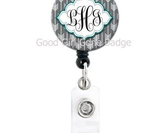 Retractable Badge Reel - Grey Arrow - Frame Color Choice - Custom Monogram Badge Holder, Carabiner, Lanyard or Steth Tag