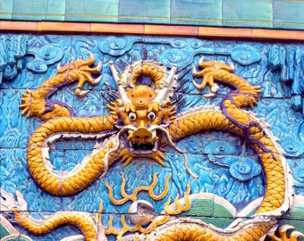 Yellow DRAGON on Wall - Beijing Forbidden City - Blank 5 X 7 Asia NOTECARD frameable Art PHOTO - Free Origami Crane - Architectural Detail