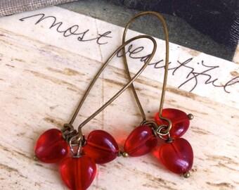 Red heart earrings/love /valentines/dangle. Tiedupmemories
