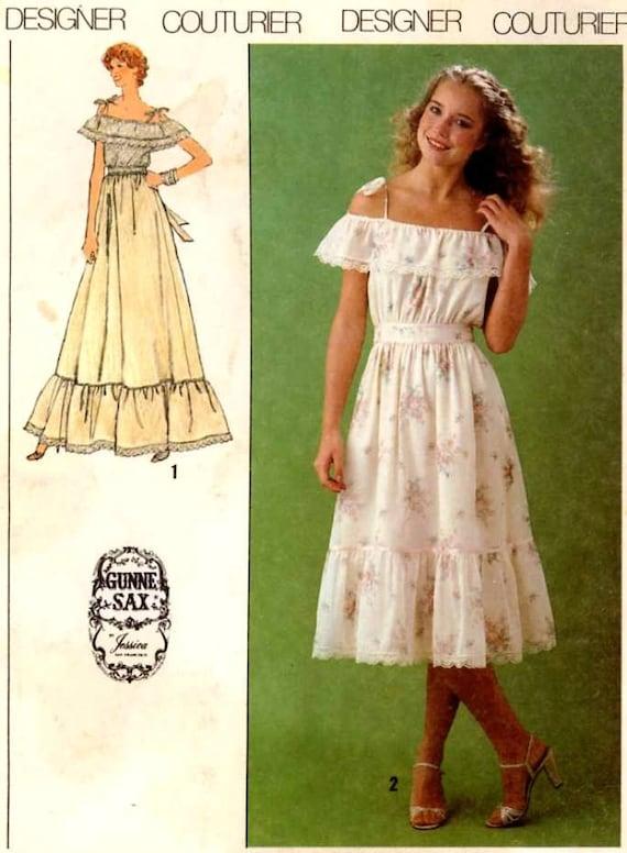 Prairie peasant dress Simplicity 9015 70s Boho Gunne Sax Bride Wedding Couturier Jessica McClintock dress vintage Sewing pattern Sz 10 Cut