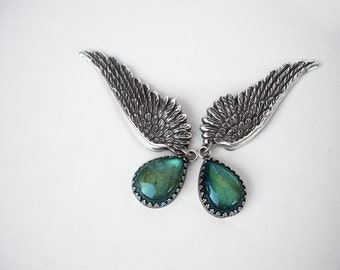 Labradorite Earrings Silver Wing Earrings Clip On // Green Blue Stone drop earrings