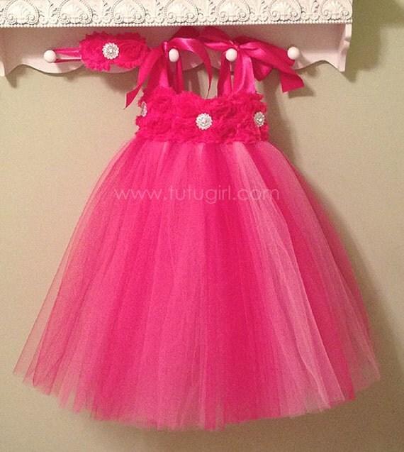Hot Pink Flower Girl Dress Bright Pink tutu dress baby toddler birthday dress wedding dress Newborn 6-12 12-18 2T 3T