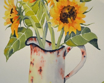 Art, Fine Art-Watercolor Painting of a Bouquet of Sunflowers in a Rusty Pitcher-Flowers, Still Life, Antique