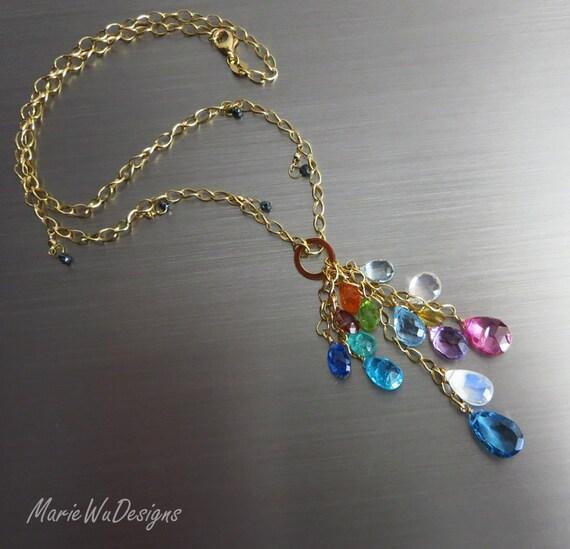 35% off-Teal Diamonds-Columbian Emerald-Sapphire-Kyanite-Pink and London Blue Topaz-Tourmaline-Mandarin Garnet-14k Gold Cascade Necklace