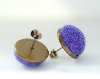 Purple Stud Earrings, Felted Wool Earrings, Jewel Tone Jewelry, Purple Earrings, Fibre Jewelry, Post Earrings, Brass Studs