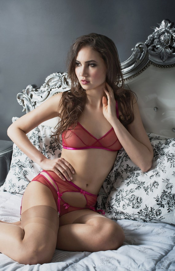 Elle sheer bralette in red mesh with fuchsia by AngelaFriedman