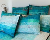 Standard size quilted pillow shams in ocean sky hues - made to order