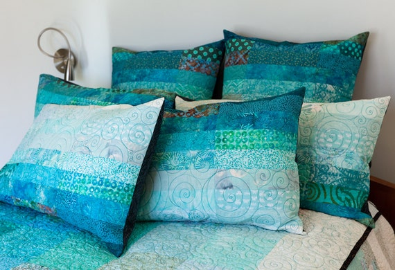 standard size quilted pillow shams in ocean sky hues made to. Black Bedroom Furniture Sets. Home Design Ideas