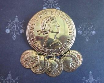 SALE Vintage Dei Gratia Regina F.D. Elizabeth II Coin Brooch