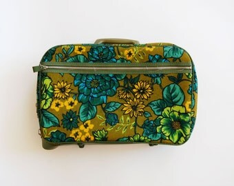 vintage 1960s TRAVEL floral teal avocado LUGGAGE-small