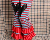 Circus Capri Pants, Red and Blue Stripes, black heart Bloomers, High Waist pants, Cotton Yoga Pants. Belly Dance. Small