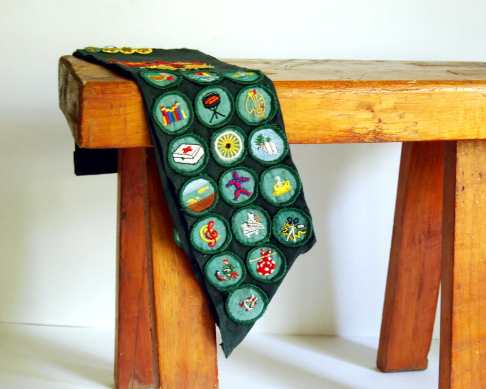 Vintage Girl Scout Sash Badges 1960s Green Collectibles