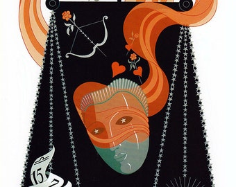 Vintage Erte Zodiac Print - Libra & Virgo - Color Plate Illustration