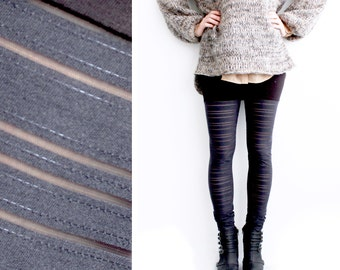 Black Leggings, Faux Thigh High Leggings, Panelled Leggings, Sheer Leggings, Striped Leggings, Norwegian Wood, Black Tights, Minimalist
