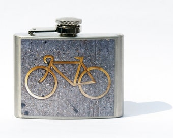 FLASK- Hip Flask - Bike Flask - 4oz Flask - Personalized Flask - 21st Birthday Gift