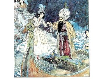 Dulac Fairy Tales - The Sleeping Beauty, Bluebeard - 1979 Vintage Book Plate - 8.5 x 11