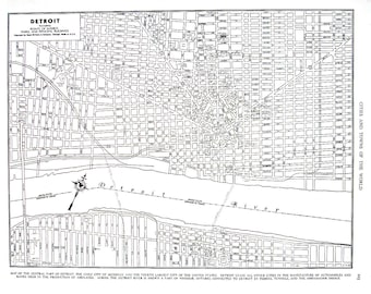 Detroit Michigan Map - 1944 Vintage Book Page from World Atlas 11 x 14